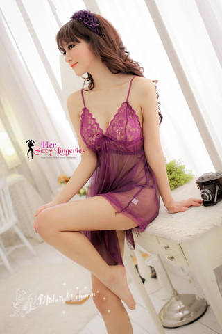 BDY587 Midnight See True Babydoll Sleepwear Nightwear Lingerie Sexy. (Purple)1.jpg