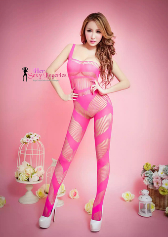 KL-0620PN  Wild Fishnet Stripe Body Stocking Sexy Lingerie (Pink)2.jpg