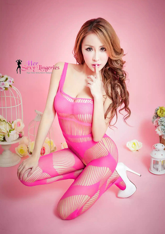 KL-0620PN  Wild Fishnet Stripe Body Stocking Sexy Lingerie (Pink)4.jpg