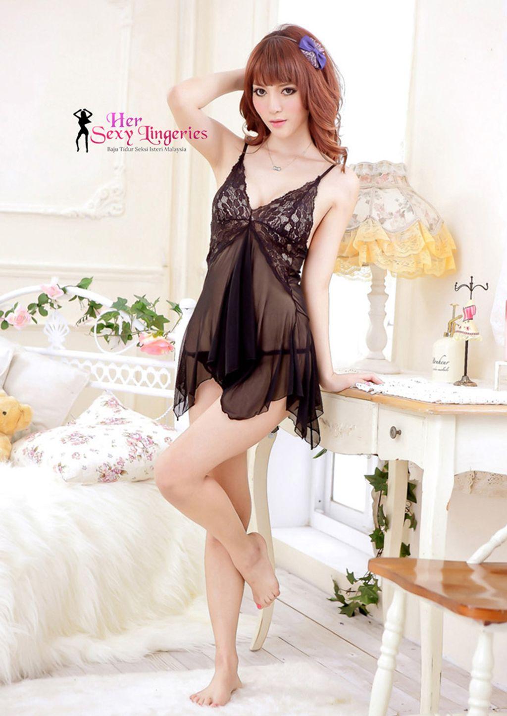 BDY1065BK Sexy Short Dress Babydoll Lingerie2.jpg