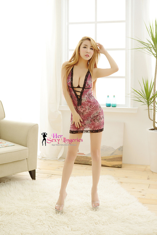AB204 Flower Sweety Sexy Sleepwaer Dress (Purple)5.jpg