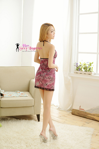 AB204 Flower Sweety Sexy Sleepwaer Dress (Purple)2.jpg