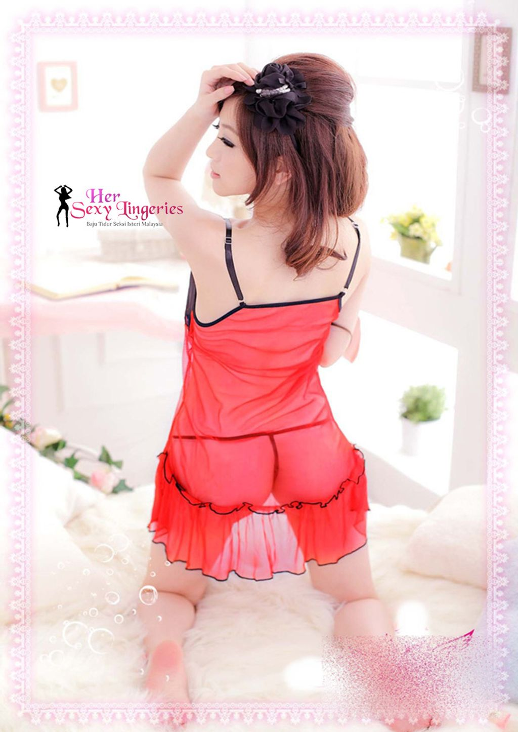 AB1112 Sexy Transperents Babydoll Lingeire (Red).jpg