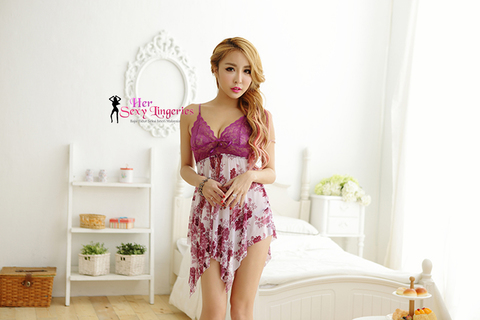 AB412  Flower Lace Sling Sexy Sleepwear Dress d.jpg