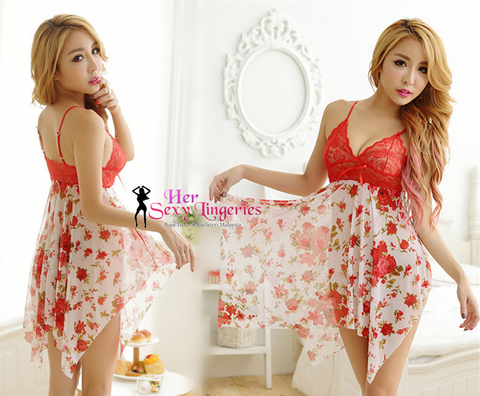 AB412RD  Flower Lace Sling Sexy Sleepwear Dress (Red) d.jpg