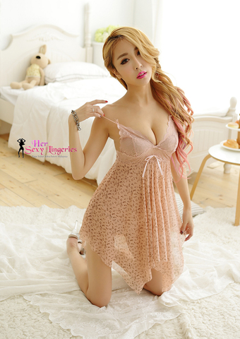 AB412SK  Flower Lace Sling Sexy Sleepwear Dress (Skin) A.jpg