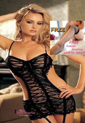 AB1615  Low-Cut Corset Dress Garter Belts G-String Sexy Lingerie Sleepwear  free stocking 2.jpg