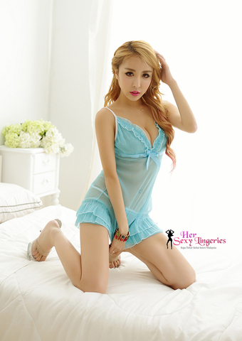 Transperent Lace Ribbon Cake Dress Babydoll Sleepwear (Blue) AB808BL6.jpg
