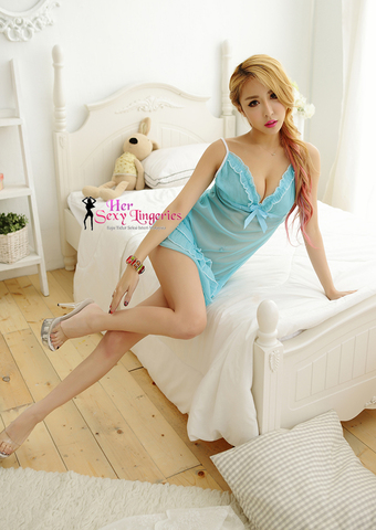 Transperent Lace Ribbon Cake Dress Babydoll Sleepwear (Blue) AB808BL5.jpg