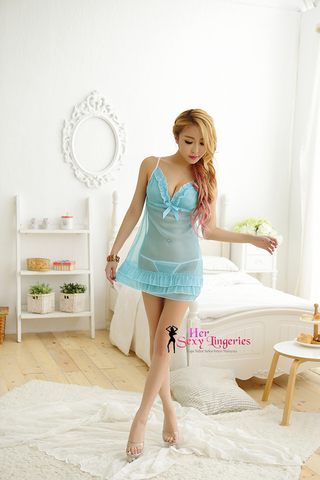 Transperent Lace Ribbon Cake Dress Babydoll Sleepwear (Blue) AB808BL1.jpg