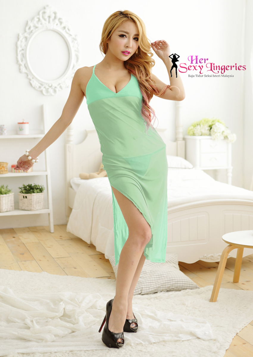 Romance Sexy Long Gown Dress Babydoll Sleepwear (Green) BLY805-GR 1.jpg