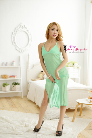 Romance Sexy Long Gown Dress Babydoll Sleepwear (Green) BLY805-GR.jpg