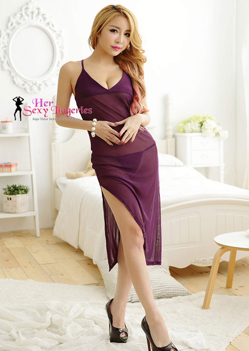 BLY805-PP Romance Sexy Long Gown Dress Babydoll Sleepwear (Purple)5.jpg