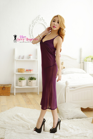 BLY805-PP Romance Sexy Long Gown Dress Babydoll Sleepwear (Purple)1.jpg