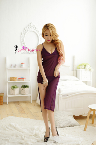 BLY805-PP Romance Sexy Long Gown Dress Babydoll Sleepwear (Purple)4.jpg