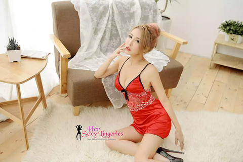 AB700RD Flora Ice Lace Nightwear Dress (Red)7.jpg