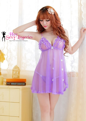 BDY1092PP See-true Cutie Lady Nightwear Sexy Lingerie Dress ( Purple)6.jpg