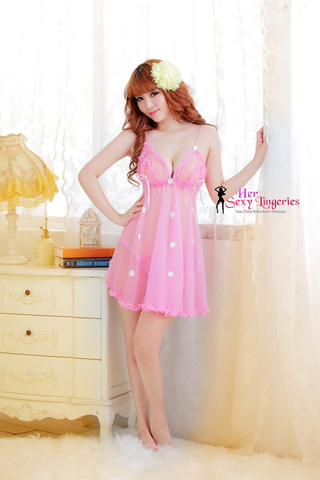 BDY1092PN See-true Cutie Lady Nightwear Sexy Lingerie Dress (Pink)2.jpg