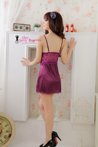 AB1636 Lavender Purple Sweet Lace Babydoll Sleepwear Dress 2.jpg