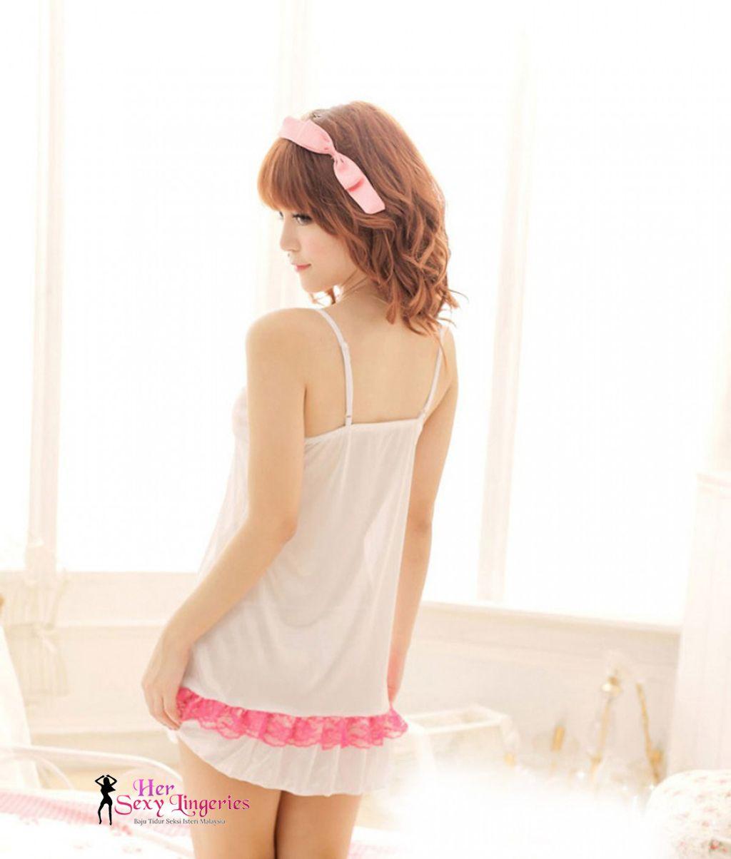 Sexy Young Babydoll Nightwear (White Pink) BDY770 4.jpg