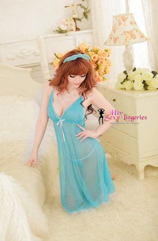 Frozen Long Gown Nightwear Babydoll Sleepwear Lingerie Sexy. (Blue) BLY579.jpg