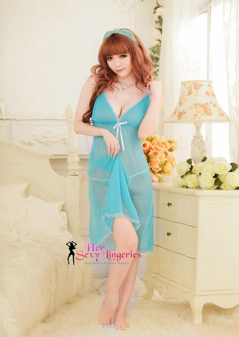 Frozen Long Gown Nightwear Babydoll Sleepwear Lingerie Sexy. (Blue) BLY579 1.jpg