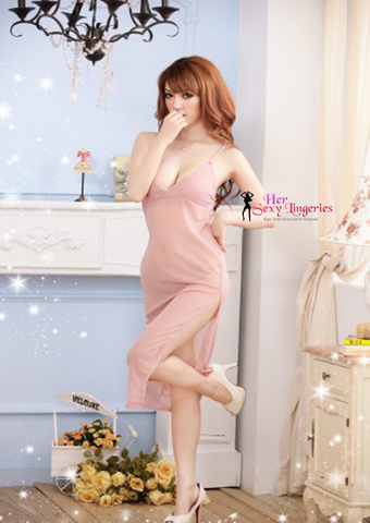 Romance Long Gown Dress Nightwear Babydoll Sleepwear Lingerie Sexy. (Skin) BLY805SK.jpg