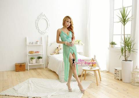 Open Front Long Gown Dress Nightwear Babydoll Sleepwear Lingerie Sexy. (Green) BLY1115 1.jpg
