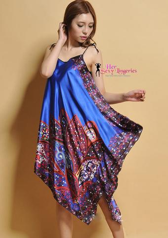 Sexy. Comfy Satin Nightwear Babydoll Sleepwear Lingerie (Blue) BDY1094BL.jpg