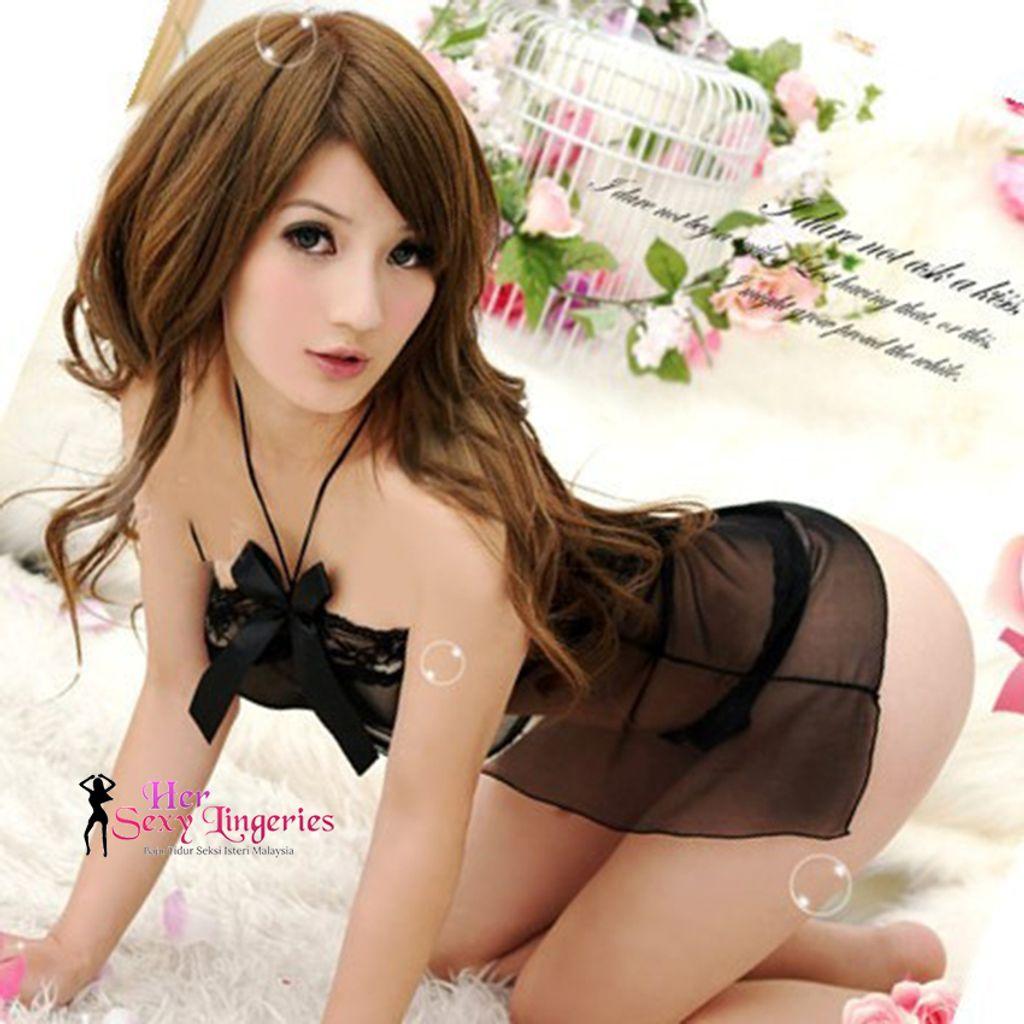 Sexy. See Through Open front Babydoll Sleepwear Nightwear Lingerie (Black) BDY1036 2.jpg