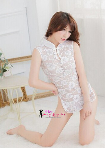Cheongsam Babydoll Sleepwear Nightwear Dress (White) BDY724 2.jpg