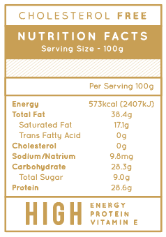 Jobbie Pure Peanut Butter Nutrition Fact