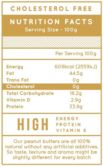 Jobbie Pure Peanut Butter Nutrition Fact