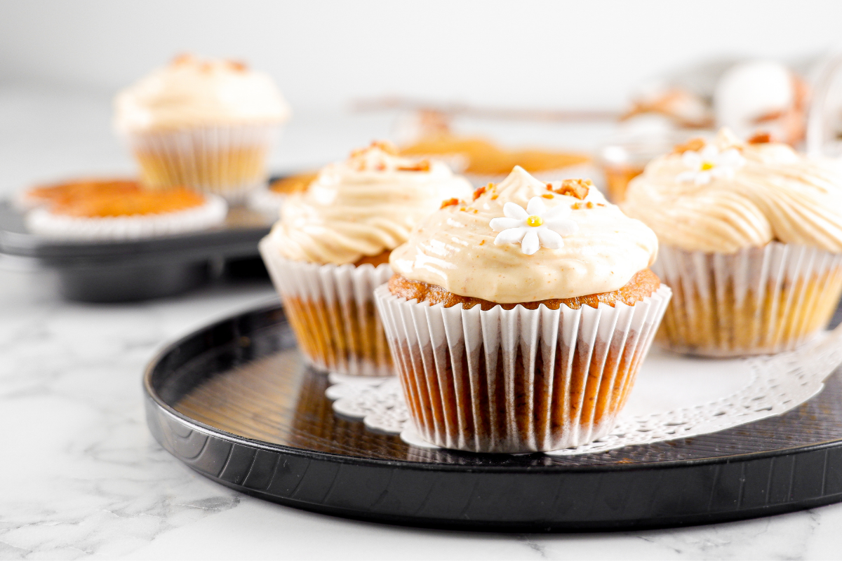 Banana Chocolate Chip Cupcake with JOBBIE Peanut Butter Frosting by Fifi Leong