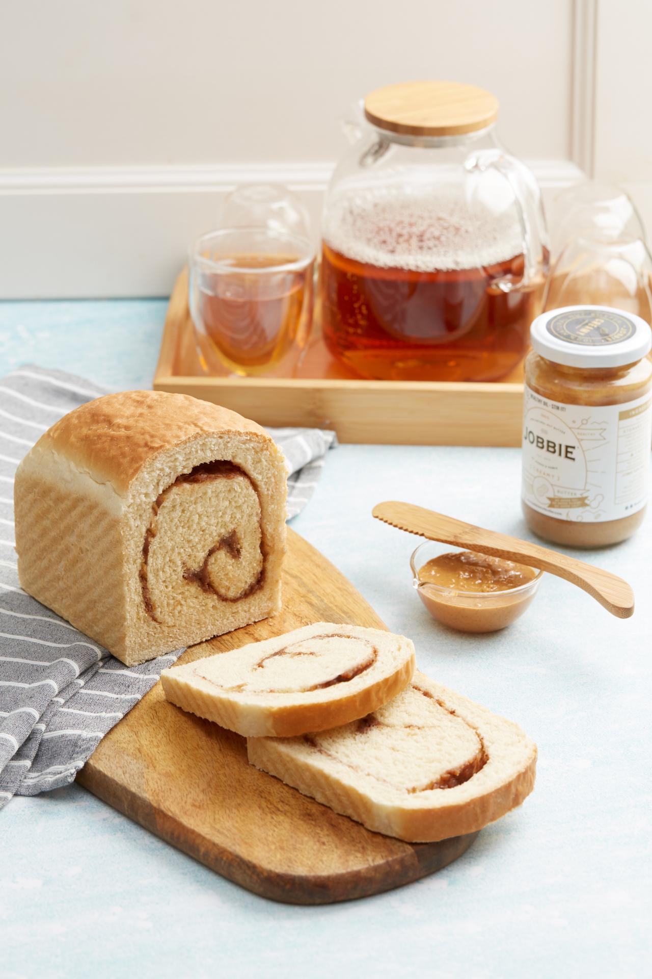 Vegan JOBBIE Peanut Butter Jam Swirl Bread