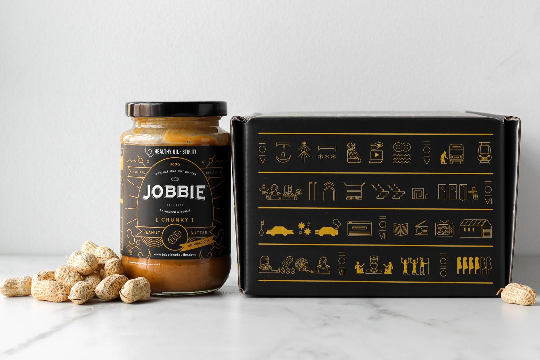 JOBBIE Nut Butter box hidden message mysterious symbols