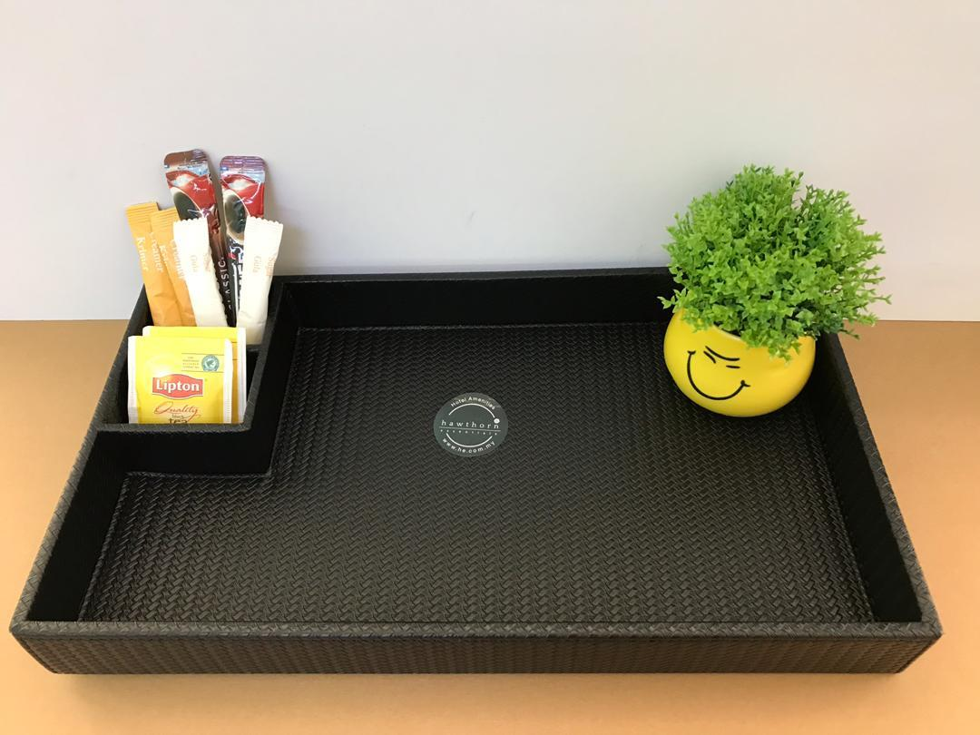 Service Tray With Sugar Compartment - Black PU.jpeg