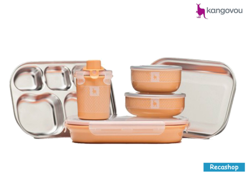 Kangovou Kids Dishware Set (Peaches and Cream).fw.png