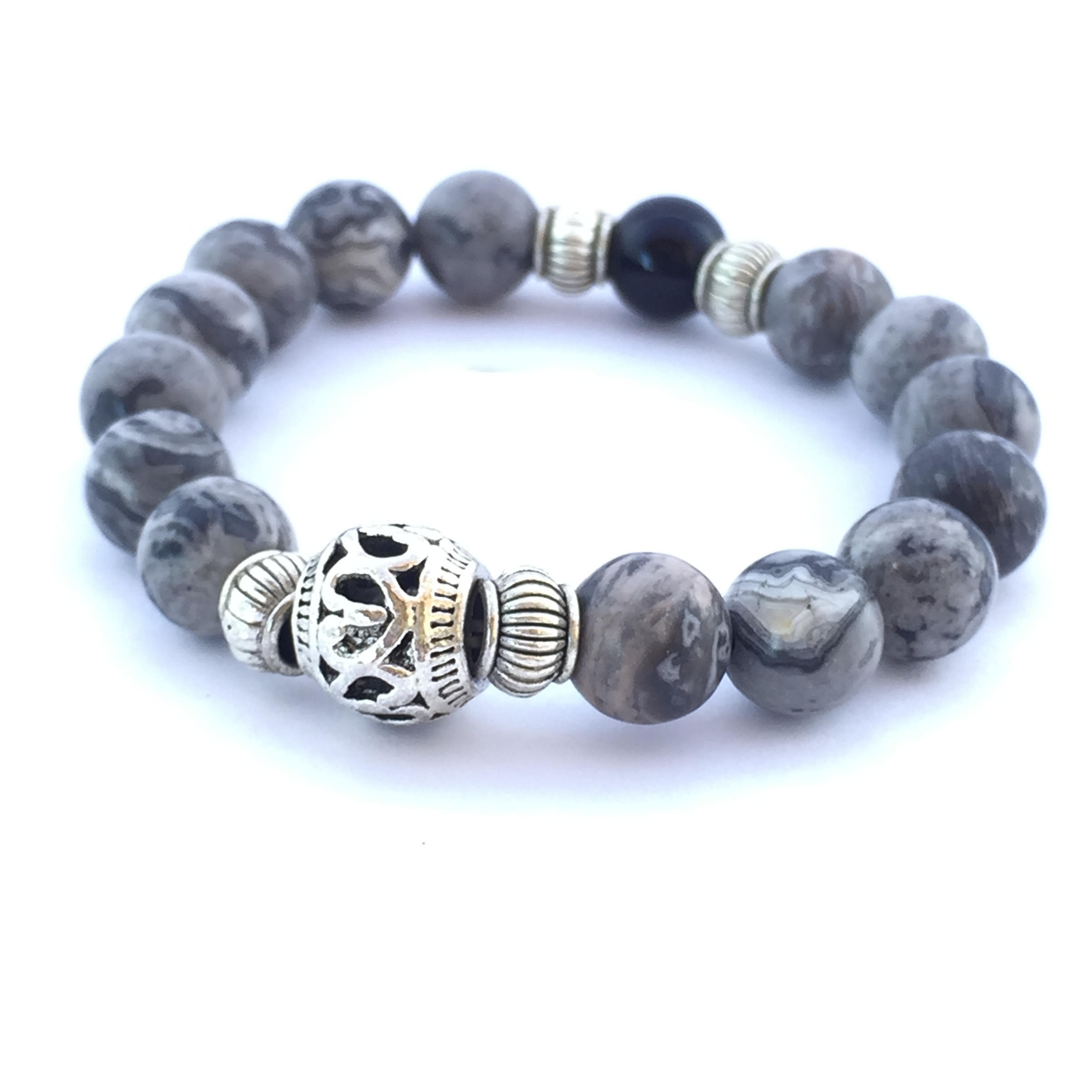bracelet with crette hematite head buddha product yellow premium jasper
