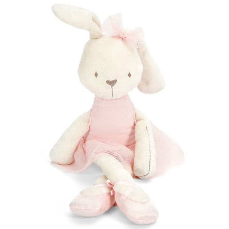 soft pink ballerina bunny plush toy moo moo kids town