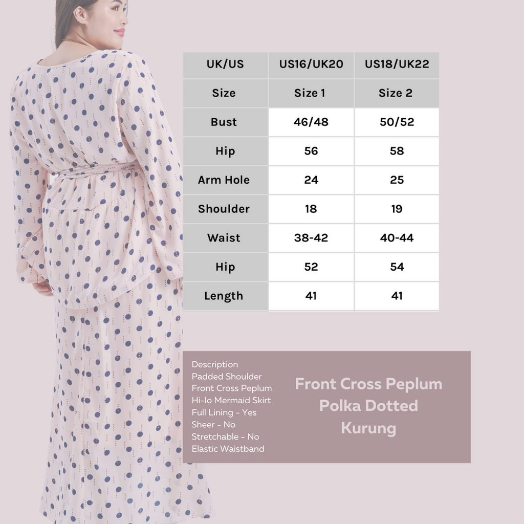 Description Padded Shoulder Front Cross Peplum Hi-lo Mermaid Skirt Full Lining - Yes Sheer - No Stretchable - No Elastic Waistband.png