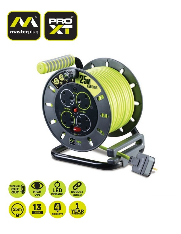 Masterplug 25m 4 Socket Electrical Cable Reel 13 amps 240V 3120W fully unwound