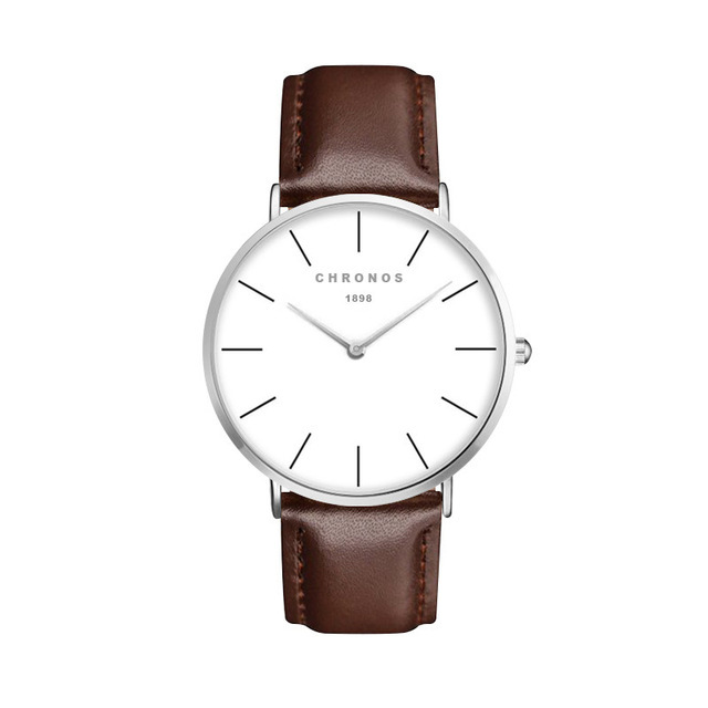 Minimal Chronos Brown Leather Watches Sliver.jpg