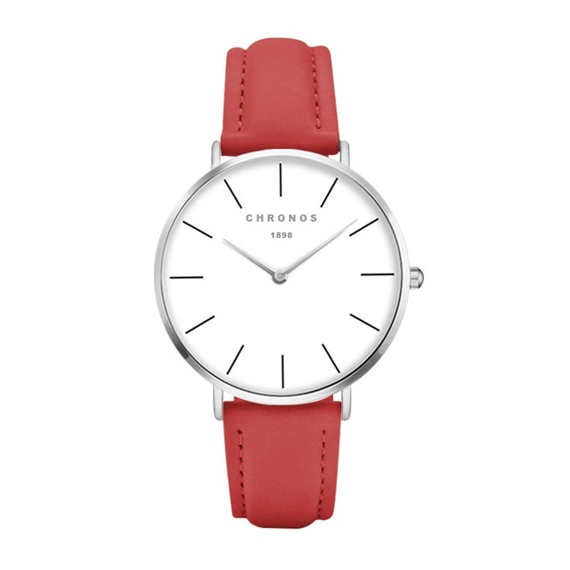 Minimal Chronos Red PU Leather Watches Sliver.jpg