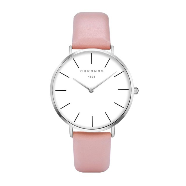 Minimal Chronos Pink PU Leather Watches Sliver.jpg