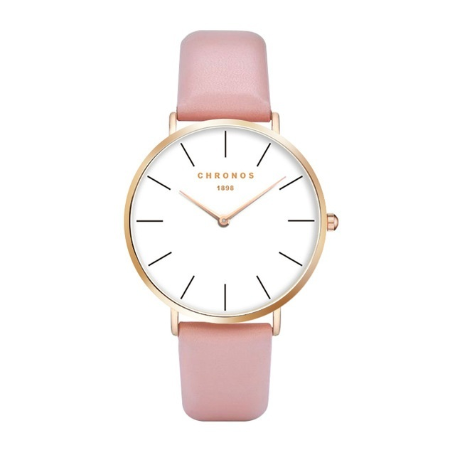 Minimal Chronos Pink PU Leather Watches Gold.jpg