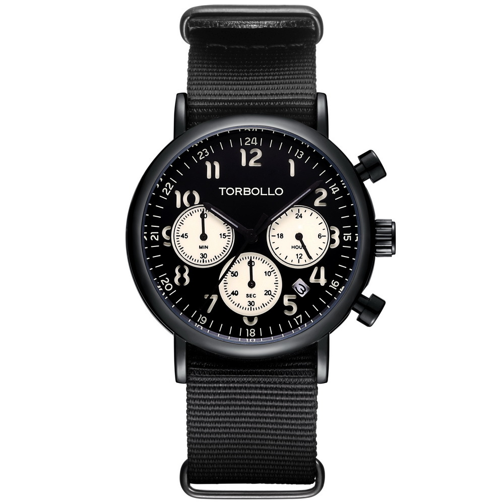 Herren Torbollo 3 Dial Nylon Watches Black (2).jpg