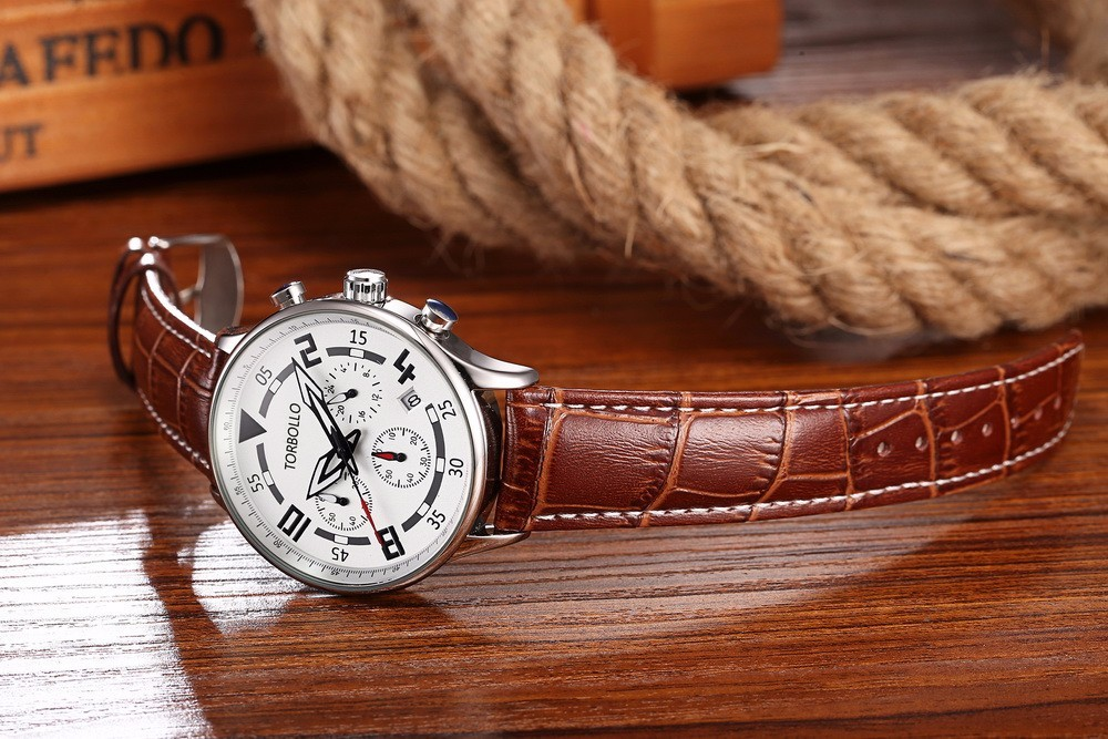 Gent V2 Chronograph Leather Watches Sliver Brown 2.jpg
