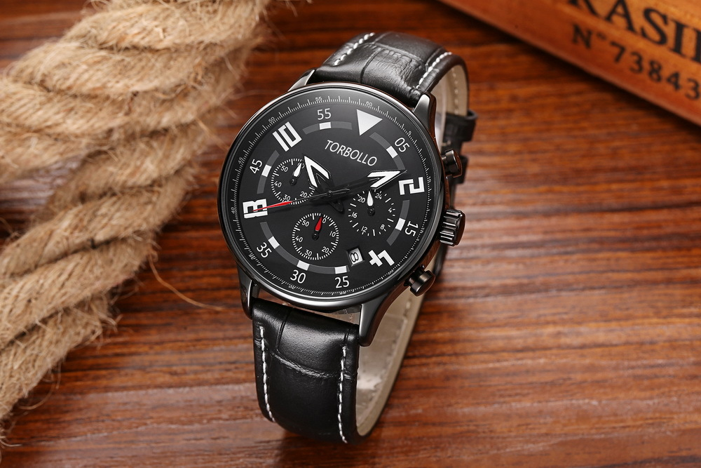 Gent V2 Chronograph Leather Watches Full Black 2.jpg