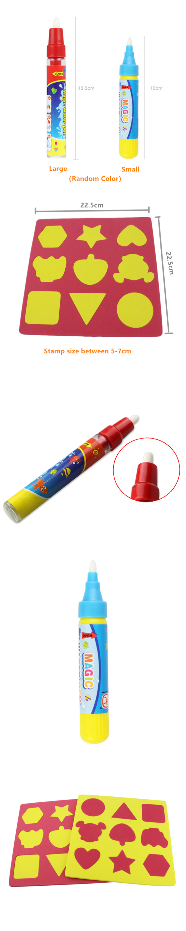 Little B House Magic Water Pen/Stamps Writing Painting for Aqua Doodle Drawing Toys Mat-BT36 (Stamps)